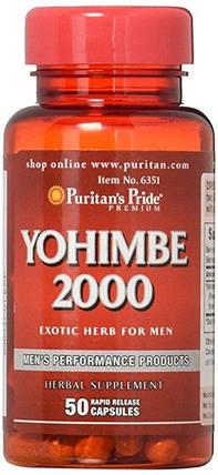 Йохимбин, Puritan's Pride Yohimbe 2000 mg 50 Capsules, фото 2