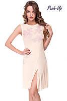 Женская сорочка Suavite Лорэтт-С ванильного цвета с кружевом