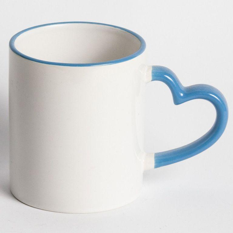 """Чашка керамическая """"Love""""с цветным ободком и ручкой"""