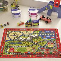 Ковер в детскую комнату Confetti 133*190 - Railway красный