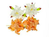 Цветочки декоративные Гардении белые + персиковые, бумажные, 5см, 4 шт/уп