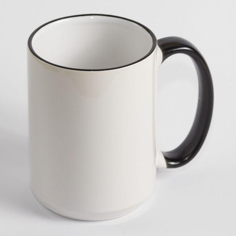 Чашка белая с цветным ободком и ручкой. Объем 425 мл.