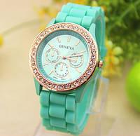 Женские часы силиконовые Geneva Relogio Feminino Mint мятные со стразами