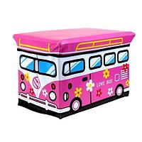 """Пуф складной розовый """"Love bus"""""""