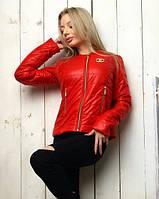 Женская лёгкая демисезонная куртка Шанель с карманами красная S M L, фото 1