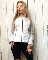 Женская лёгкая демисезонная куртка Шанель с карманами белая S M L