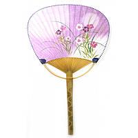 "Веер опахало с рисунком ""Цветы"" 38х24,5х0,5см  (18011A)"