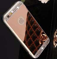 Зеркальный розовый силиконовый чехол с стразами для iphone 6+/6S+ 5.5дюйма