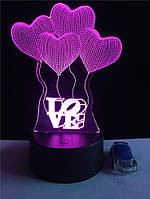 """LED ночник, лампа, светильник """"воздушные шары Love"""". Меняет 7 цветов"""