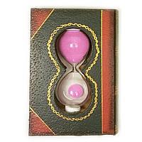"""Часы песочные """"Книга"""" розовый песок 11х8х3,5см  (28808A)"""