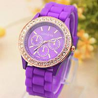 Женские часы силиконовые Geneva Relogio Feminino Purple фиолетовые со стразами, фото 1