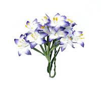 Цветочки декоративные Лилии белые с синим, бумажные, 10 шт/уп