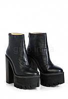 Ботильоны кожаные на высоком каблуке Miin