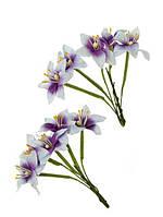 Квіточки декоративні Лілії білі з фіолетовим, паперові, 10 шт/уп