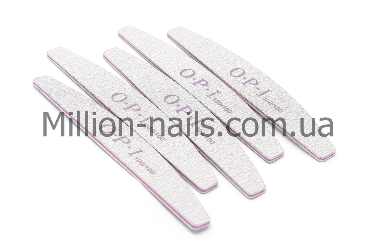 Пилка для ногтей OPI  полукруг 100/100, серая