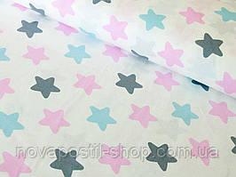 Ткань для детского постельного белья, поплин Звезды-пряники розовые