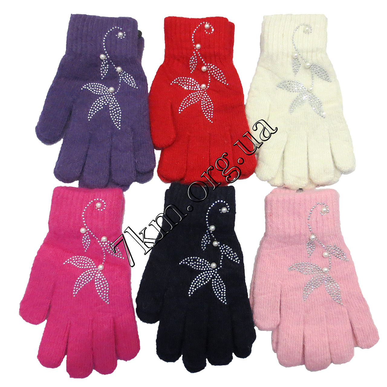 Перчатки подростковые ангора для девочек от 8 лет Оптом 5541