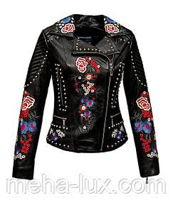 Куртка женская кожаная Sacha Pacha черная с вышивкой и заклепками