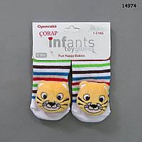 """Носочки """"Львёнок"""" с игрушками-погремушками для малыша. 0-3 мес"""