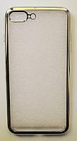 Чехол на Айфон 7 Плюс ТПУ Прозрачный Серебро
