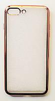 Чехол на Айфон 7 Плюс ТПУ Прозрачный Rose Gold