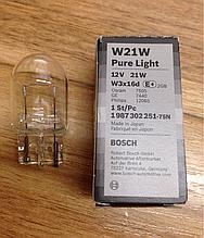 Автомобільна лампа BOSCH Pure Light W21W 12V 21W, 1 987 302 251