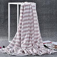 Стильный легкий женский шарф в полоску бежевого цвета