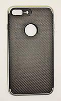 Чехол на Айфон 7 Плюс SGP Neo Hybrid Силикон и пластик Черный Серебро, фото 1