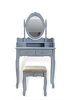 Туалетный столик серый + табурет