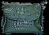 Женская сумка из натуральной кожи зеленого цвета рептилия  NNR-052221