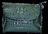 Женская сумка из натуральной кожи зеленого цвета рептилия  NNR-052221, фото 1
