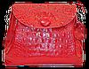Женская сумочка из натуральной кожи под крокодила красного цвета GQD-826718