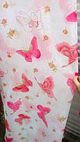 Тюль шифон бабочки ярко-розовые