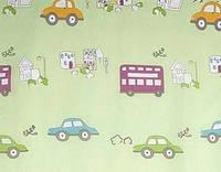 Тюль органза Машинки детские, цвет салатовый