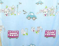 Тюль органза Машинки детские, цвет голубой