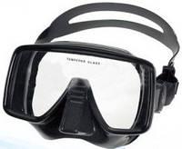 Маска Black глубинная для подводной охоты и плавания черный силикон, широко обзорная.