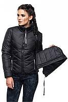 Модная женская черная куртка СОФИЯ Модная зона  42-54 размеры