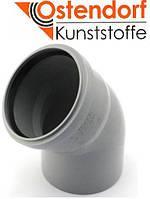 Колено HTB ПП 110х45° Ostendorf (Osma) Германия раструбная с уплотнительным кольцом, серый