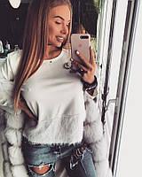 Женский свитшот из бархатистого трикотажа, Шанель