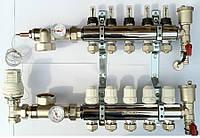 Коллектор для теплого пола FADO на 5 контура с расходомерами
