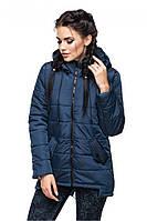 Стильная темно-синяя демисезонная куртка-парка АРИНА Модная зона 44-54 размеры