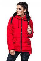Стильная красная демисезонная куртка-парка АРИНА Модная зона 44-54 размеры