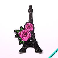 Нашивки на пляжные туники термо Эйфелева Башня с розами [Свой размер и материалы в ассортименте]