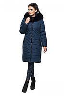 Синяя зимняя удлиненная куртка ЛАНА ТМ Модная Зона 44-52 размеры
