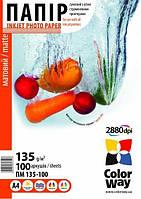Бумага ColorWay матовая 135г/м, A4 ПМ135-100