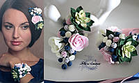 """""""Зеленый суккулент с черникой и розами"""" комплект украшений из полимерной глины, фото 1"""