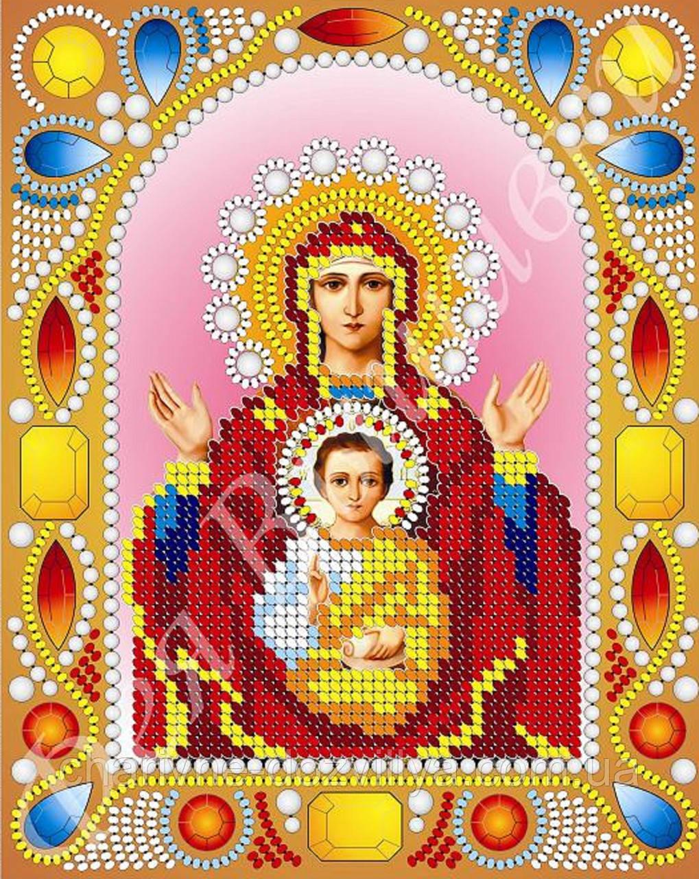 """Схема для вишивки бісером ікона """"Богородиця Знамення"""" (комплектація перлами та камінням)"""
