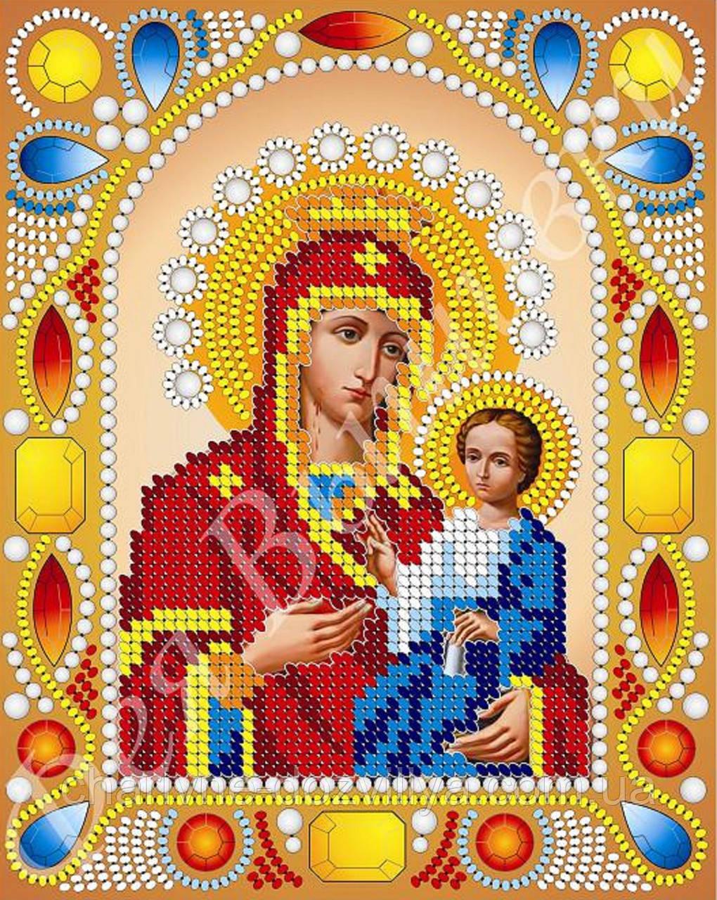 """Схема для вышивки бисером икона """"Богородица Иверская"""" (комплектация жемчугом и камнями)"""