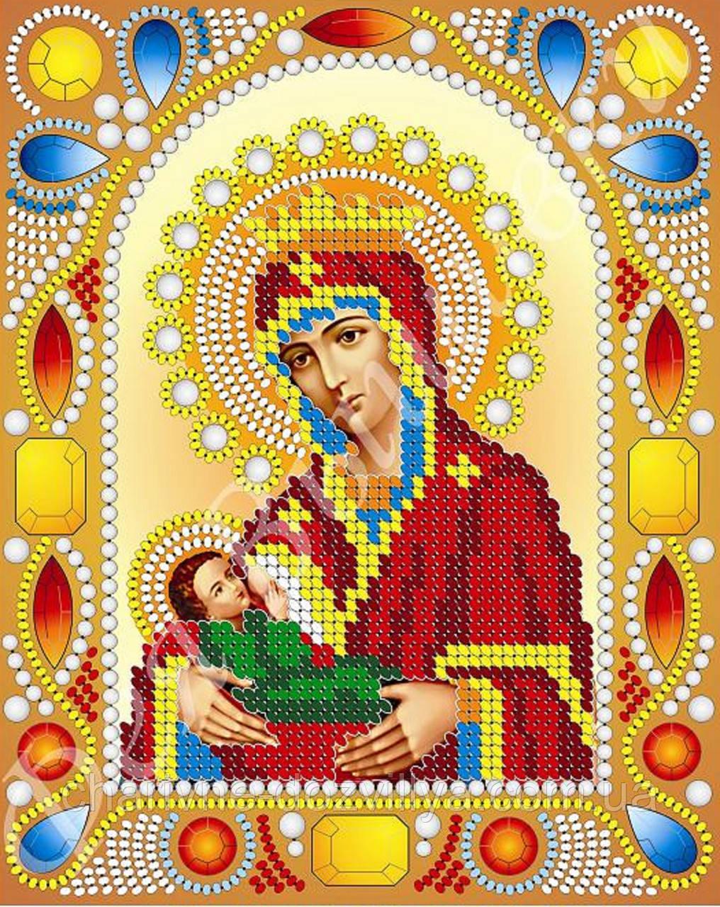 """Схема для вишивки бісером ікона """"Богородиця Годувальниця"""" (комплектація перлами та камінням)"""