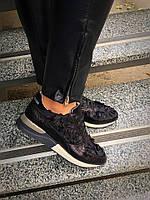 Кроссовки в стиле D&G. Натуральная кожа+обувной стрейч с декоративной отделкой. Р-р 36-40. Цвет: чёрный.